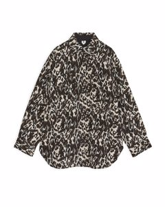 Jacquard-Overshirt im Oversized-Look Beige/Braun