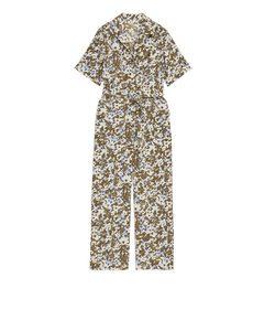 Floraler Jumpsuit mit Gürtel Khaki/Geblümt