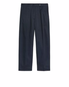 Relaxed Cotton Chinos Dark Blue