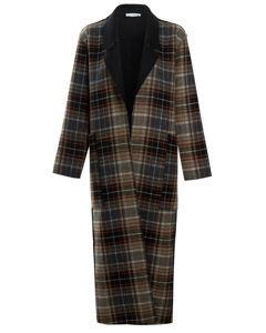The Aria Wool Coat Brown Check