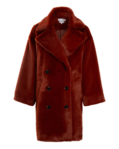 The Casja Faux Fur Coat Rust