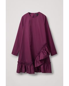 Ruffled Cotton Dress Burgundy