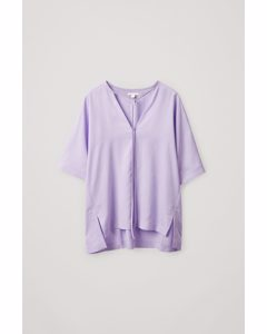 Oversized Neck Tie Top Lilac