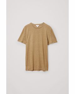 Short-sleeved Linen T-shirt Beige