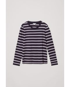 Long-sleeved Cotton Top Navy / White