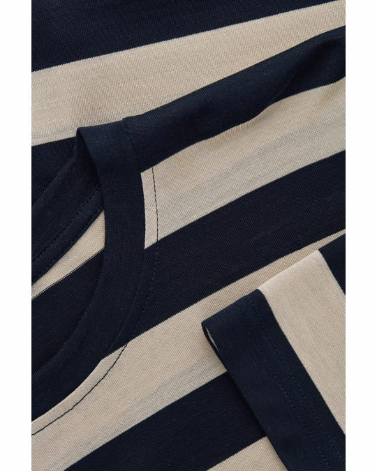 COS Wide Boxy Fit Top Midnight Blue / Beige