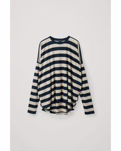 Wide Boxy Fit Top Midnight Blue / Beige