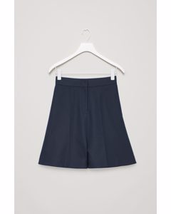Wide Hem Cotton Shorts Navy