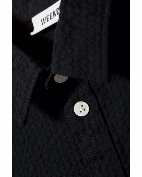 Weekday Wise Seersucker Shirt Black