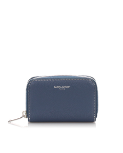 Ysl Leather Coin Pouch Blue