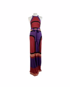 Balenciaga Color Block Light Knit Silk Halterneck Maxi Dress Size 40
