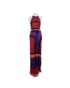 Balenciaga Color Block Light Knit Silk Halterneck Maxi Dress Size 40