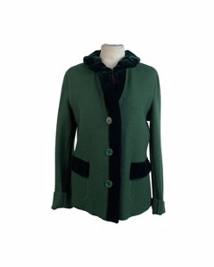 Aspesi Vintage Green Wool Jacket With Velvet Trim Size 46