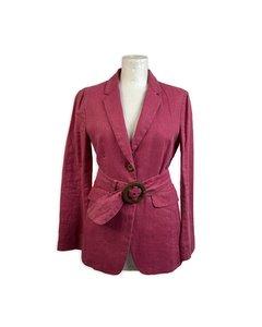Prada Vintage Pink Linen Belted Blazer Jacket Size 42