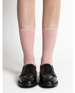 Delicate Ribbed Socks Pink/gold