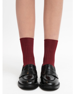 Silky Ribbed Sock Bordeaux