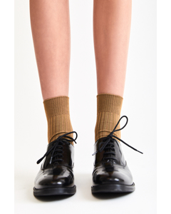 Silky Ribbed Sock Gold