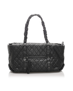 Chanel Quilted Lady Braid Tote Black