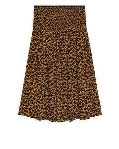 Smocked Midi Skirt Brown/black