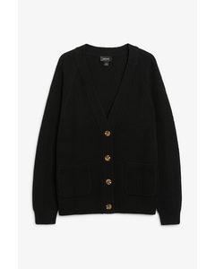 Long Knitted Cardigan Black Magic