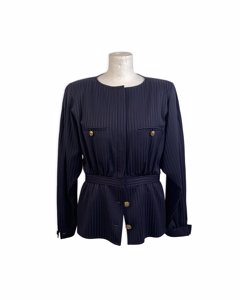 Valentino Vintage Blue Striped Collarless Peplum Hem Jacket Size 10