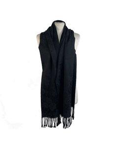 Fendi Vintage Black Cotton Blend Jacquard Floral Fringed Scarf