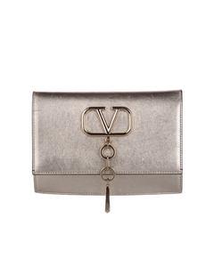 Valentino V-ring Leather Crossbody Bag Gold