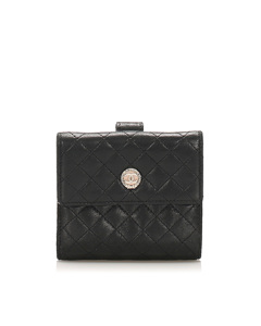 Chanel Cc Timeless Lambskin Leather Small Wallet Black