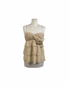 Missoni Ivory Viscose Tiered Crochet Top With Flower Applique Size 42
