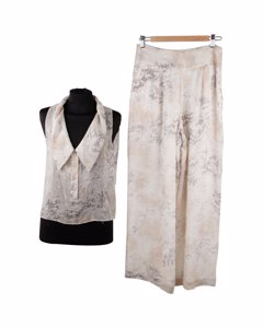 Krizia Silk Sleeveless Top And Wide Leg Trousers Set Size 42