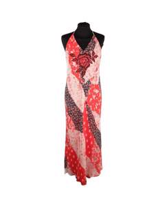 Giorgio Grati Floral Silk Long Halterneck Maxi Dress Size 42