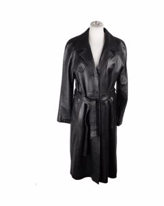 Amina Rubinacci Black Leather Trench Coat Long Lenght W/ Belt Size 42