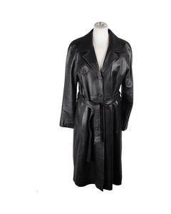 Amina Rubinacci Black Leather Trench Coat Long Lenght W/ Belt Size 42