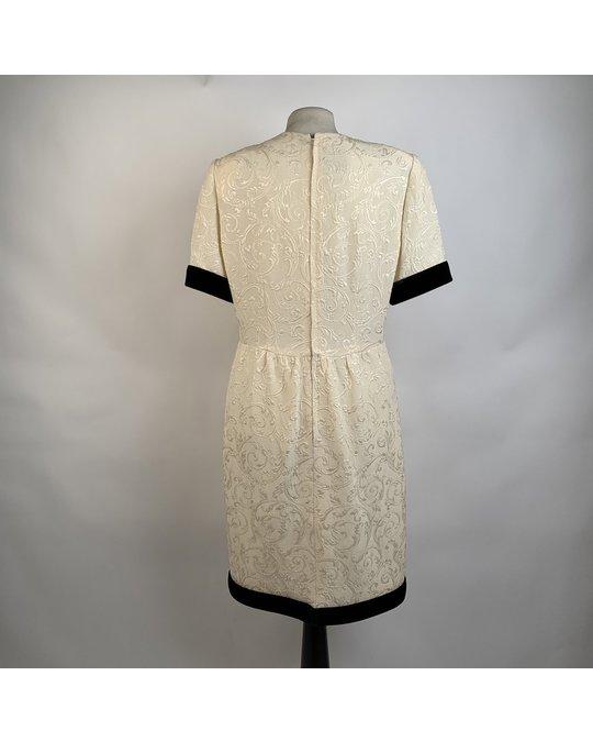 Other Galitzine Vintage White Jacquard Sheath Short Sleeve Dress