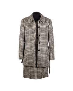 Gerani Houndstooth Wool Alpaca Shift Dress And Coat Suit Size 42