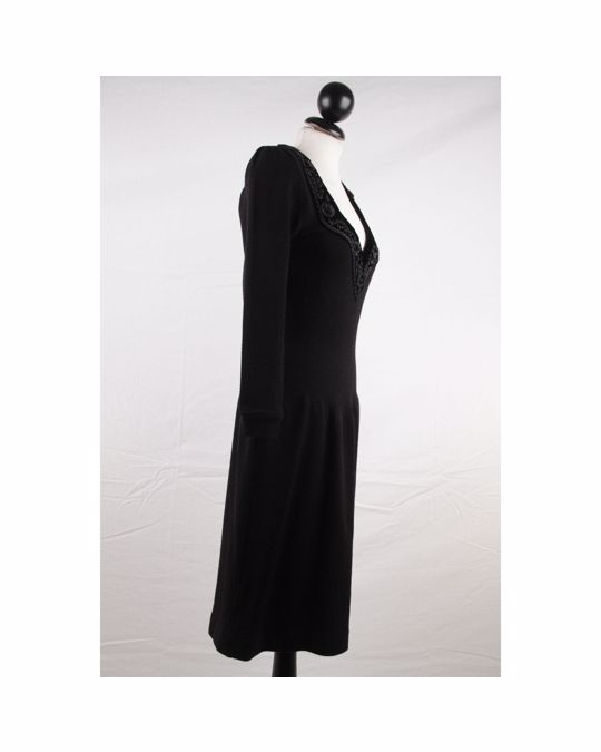 Other Blumarine Black Knit Long Sleeve Dress With Beaded Trim Size 38