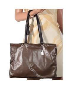 Roberta Di Camerino Italian Brown Vinyl Canvas Shoulder Bag Handbag Tote