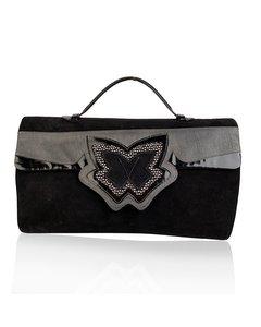 Bruno Magli Vintage Black Suede Butterfly Handbag Bag