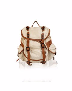 Campomaggi Teodorano Ivory Canvas And Leather Backpack
