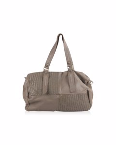 Tyoulip Sisters Taupe Leather Duffle Shoulder Bag With Woven Panels