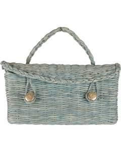 Roberta Di Camerino Vintage Green Woven Raffia Straw Handbag Satchel