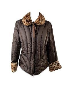 Blumarine Brown Padded Down Jacket With Leopard Faux Fur Trim Size 44