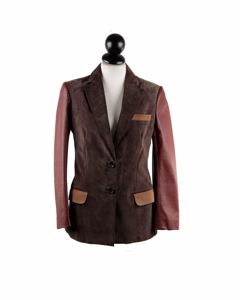 Couture Du Cuir Brown Panelled Suede And Leather Blazer Jacket Size 40
