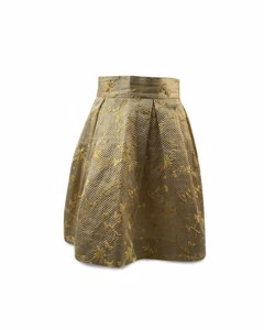 Antonio Franco Yellow Textured Embroidered A Line Skirt