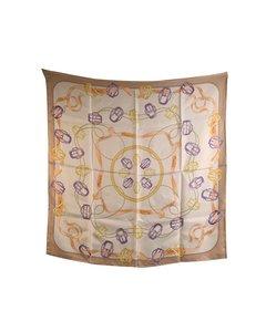 E. Marinella Napoli Vintage Beige Silk Scarf Buckles With Box