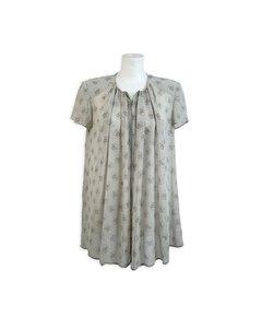 Mani Vintage Sage Silk Short Sleeve Blouse Top Size 44