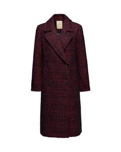 Long Modern Coat Dark Red