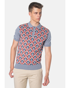 Jordan, Geometric Pattern Knitted Men's Polo Shirt