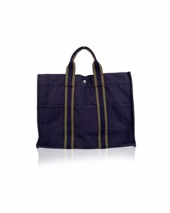 Hermes Paris Blue And Green Cotton Fourre Tout Mm Tote Bag