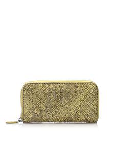 Bottega Veneta Intrecciato Snake Skin Leather Zip Around Wallet Brown